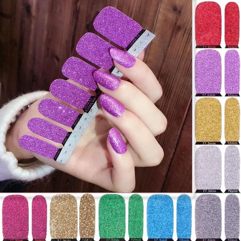 LADY KINDOM DIY Nail Art Sticker Self Adhesive Nail Wraps Pure Color Nail Foils Glitter Nail Polish Strips Waterproof Nail Patch