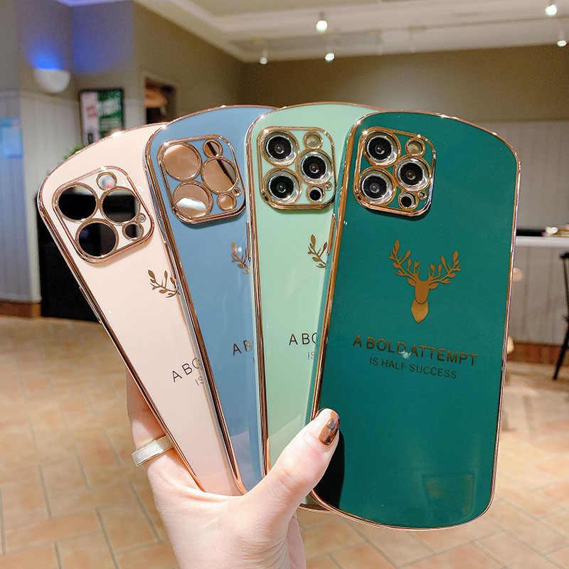 Coque de téléphone de luxe en Silicone pour iPhone, étui de protection souple, de forme ovale, Ultra-mince, pour modèles 12, 11 Pro Max, SE, XSmax, ...