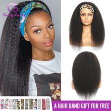 Headband Wig Kinky Straight Hair 100% Human Hair Grip Headband Scarf Wig Human Hair Wig No plucking wigs for Women No Glue