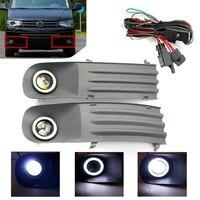Car Fog Lights Lamps Angel Eye Grilles +Harness For V w Transporter T5 T28 T30 2003 2009