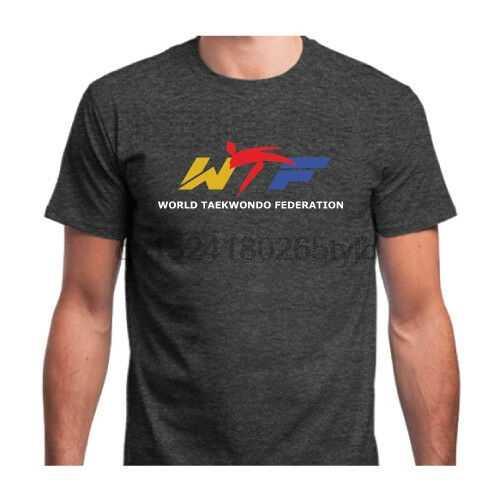 WTF мир тхэквондо Международная федерация новая футболка черный белый Avl