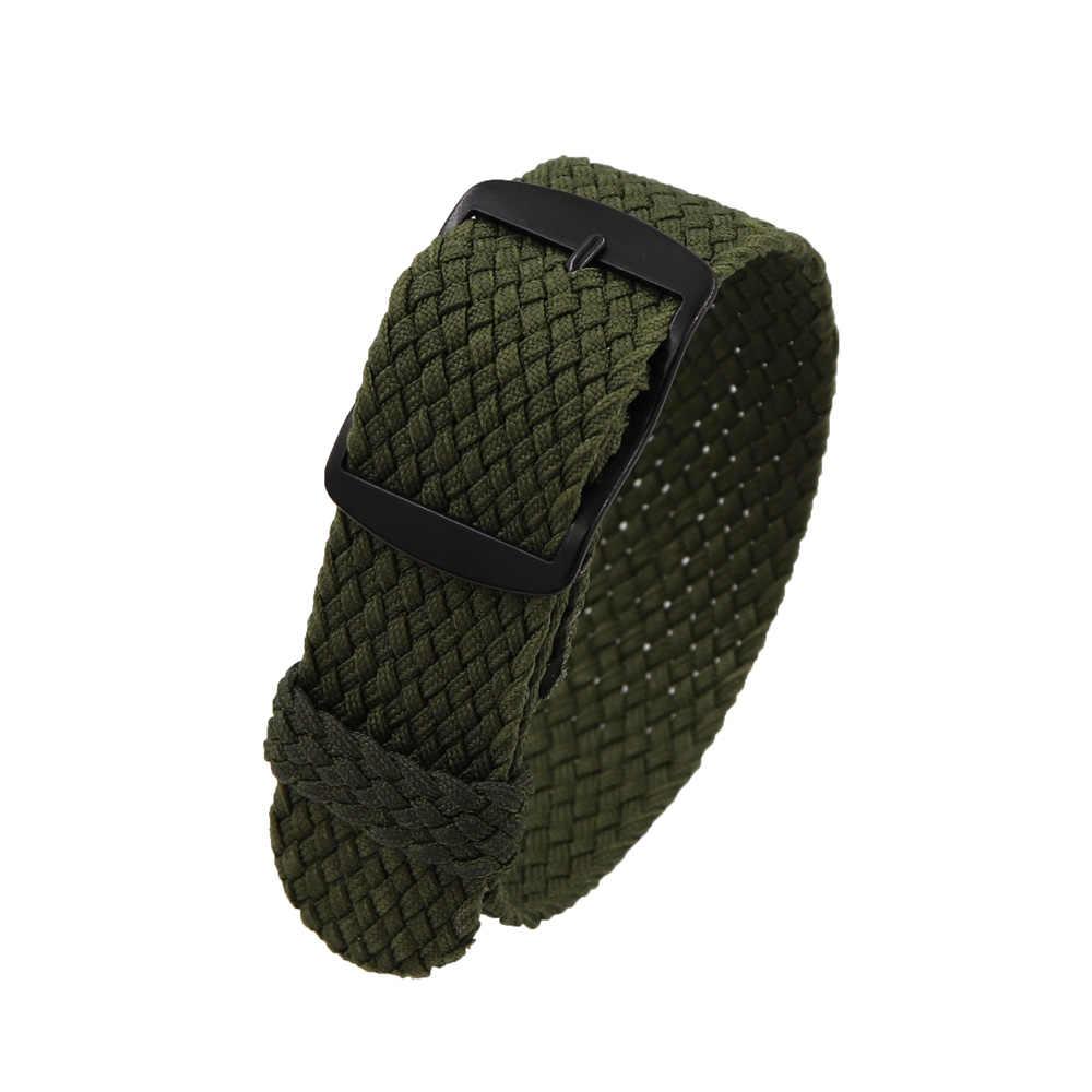 18mm 20mm 22mm מוצק צבע עבור Perlon ארוג ניילון watchbands צמיד בד ארוג רצועת שעון בנד שחור אבזם חגורת ירוק כהה