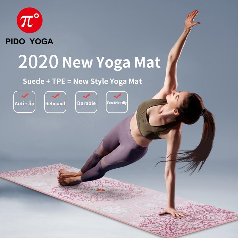 Pista YOGA estera de Yoga de 7mm de espesor y largo estampado de gamuza con TPE estera de Fitness gimnasio antideslizante estera de baile