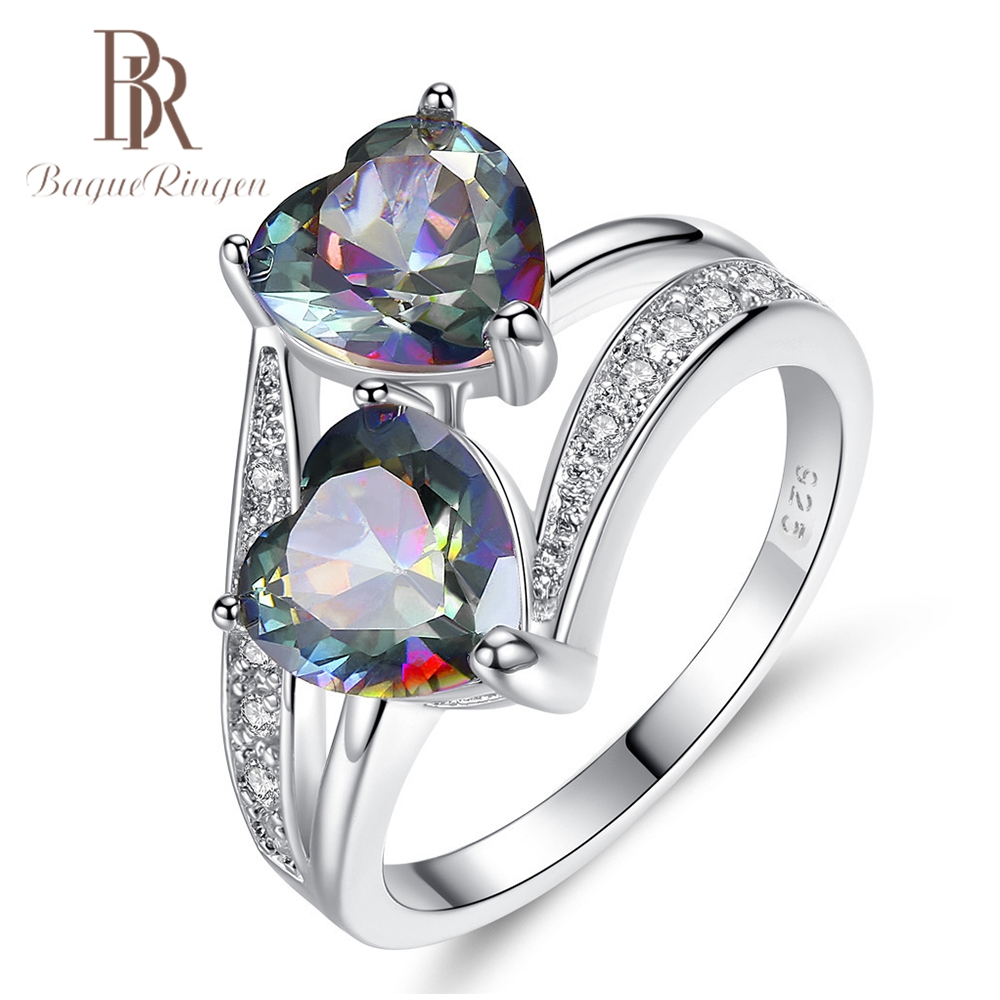 Bague Ringen Top Brand Double Heart Design Topaz Rings For Women Silver 925 Jewelry Gemstone Rings Christmas Anniversary Gifts