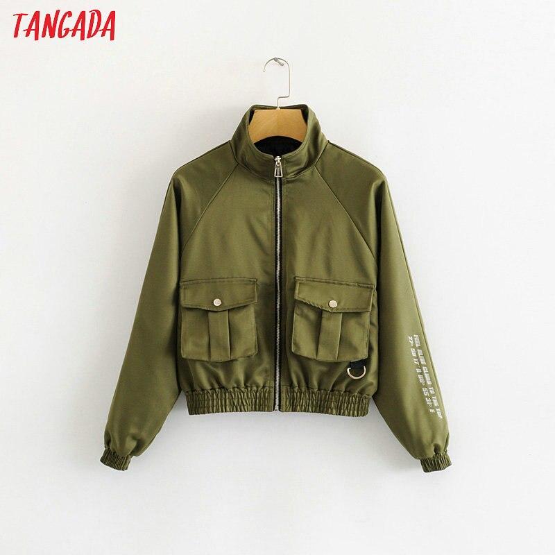 Tangada Women Thin Spring Bomber Jacket Letter Print Female Long Sleeve Zipper Ladies Oversized Jackets Outwear 2L01