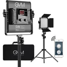 GVM Photography Video Studio Lighting GVM-480LS with WiFi Remote APP Control Fold Tripod Stand Bi-Color 480 LED Light Panel Kit 3 x 150w studio fresnel tungsten light fixture with dimmer control spotlight video light kit lighting with carry case and stand