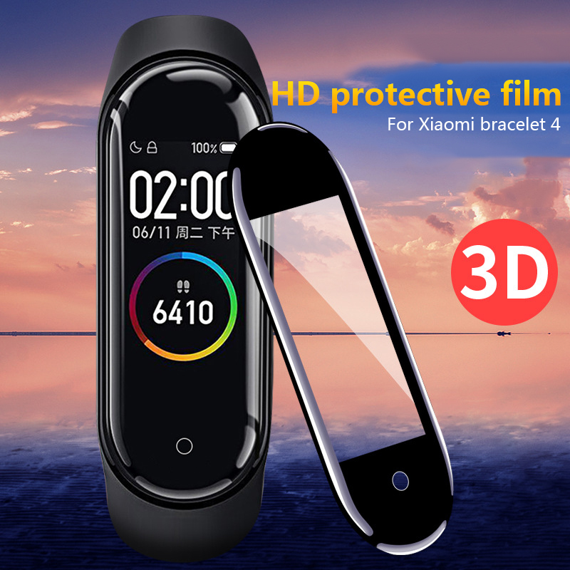 5-1PCS Screen Protector Film For Xiaomi Mi Band 4/3 PET Silk Tempered Glass Full Protective Film Case Cover Pelicula 3D Surface