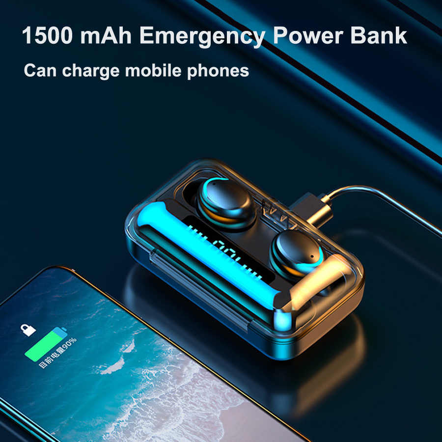 F9 TWS หูฟังไร้สายบลูทูธ 5.0 F9 TWS หูฟังบลูทูธสนับสนุน Xiaomi / iPhone 2200 mAh Power Bank 9D สเตอริโอ