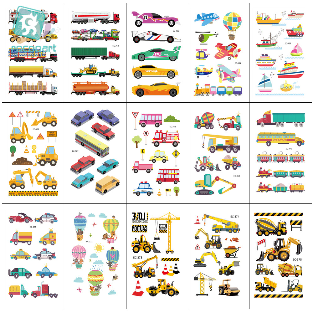 15 Sheets Fashion Little Bus Set Waterproof Temporary Tattoo Kids Gift Cartoon Bus Car Tattoo Stickers Children Birthday Party