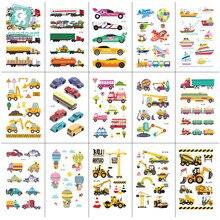 15 Sheets Fashion Little Bus Set Waterproof Temporary Tattoo Kids Gift Cartoon Car Stickers Children Birthday party t