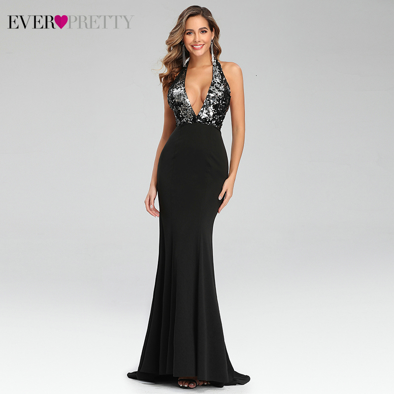 Sexy Black Evening Dresses Ever Pretty EP07164BK Sequined Deep V-Neck Sweep Train Backless Christamas Party Gowns Robe De Soiree