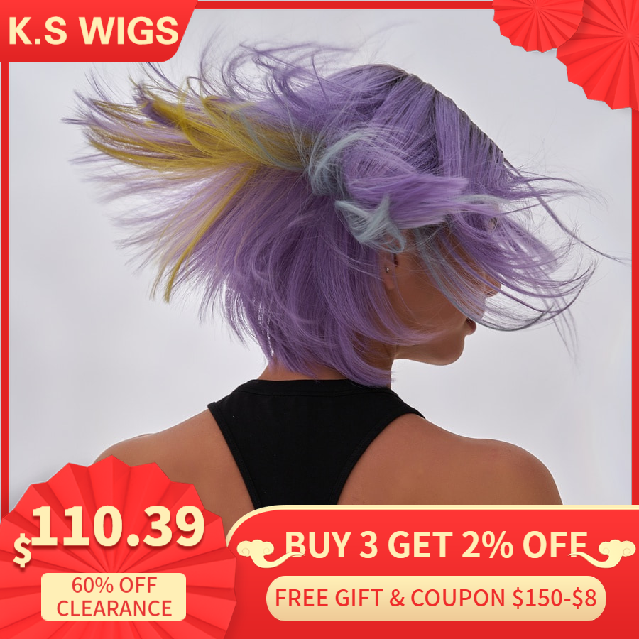 K.S WIGS 10'' Purple Rainbow 150% Density Short Bob Wigs Pre-Plucked Straight Half Lace Front Remy Hair Wig For Women