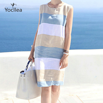 цены Summer dresses femme Cotton Linen Sleeveless Striped Dress lady Loose Casual Beach Dress Vestidos women O neck Mini dress