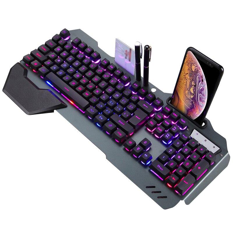 Mecânico do Jogo para Pubg com Fio Ergonômico com Retroiluminação Suporte do Telefone Teclado para Tablet Teclado Gamer Desktop Rgb
