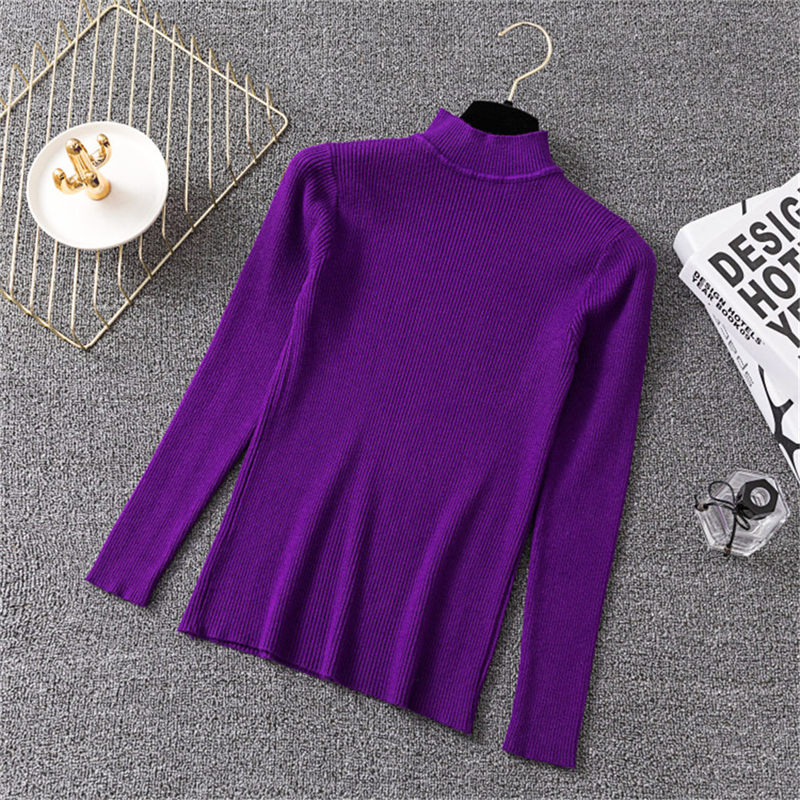 Korea Autumn Winter Purple Half Turtleneck Slim Elastic Pullovers Sweaters Women Solid Bottoming Knitted Sweater Female Jumper