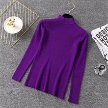 Coréia outono inverno roxo metade gola alta magro pulôveres elásticos camisolas femininas sólido bottoming camisola de malha feminina jumper