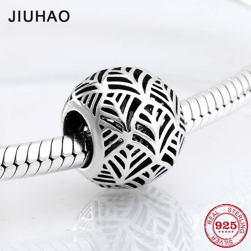 Fashion 925 Sterling Silver Openwork Palm Leaves Hollow Beads Fit Original Pandora Charm Bracelet Jewelry Making 2018