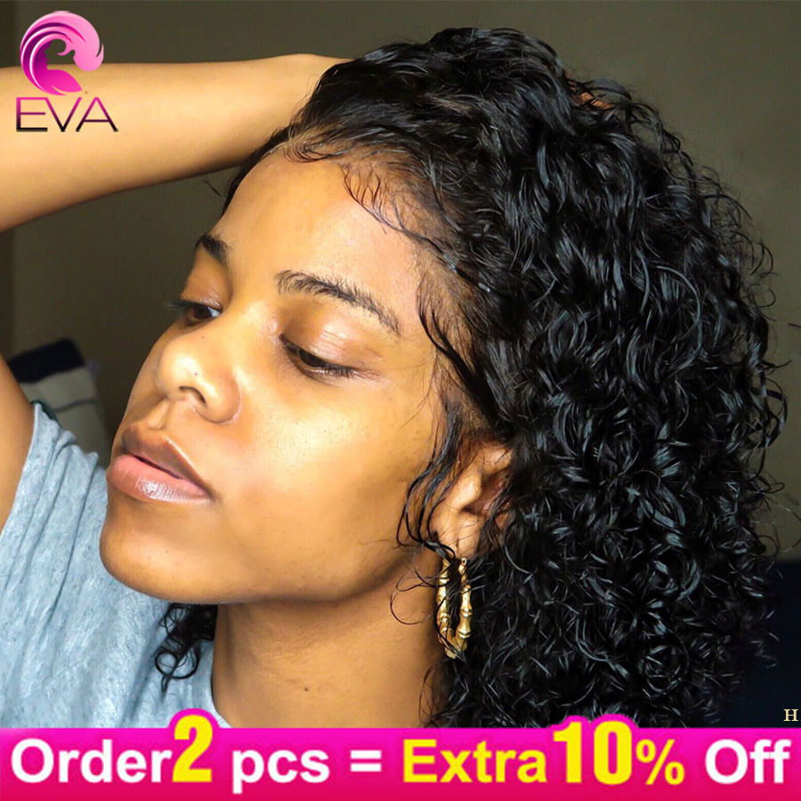 Eva Hair 150% Short Bob Curly 13x6 Lace Front Human Hair Wigs Pre Plucked With Baby Hair Brazilian Remy Hair Wig For Black Women