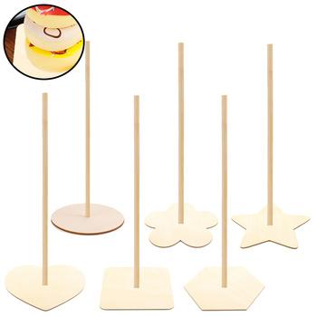 6 sztuk drewniany stojak na pączki moda pączki stojak uchwyt wózek na słodycze wyświetlacz z kijem na urodziny ślub Ba tanie i dobre opinie CN (pochodzenie) Donut Display Stand Doughnuts Stand Holder Candy Cart Display Board Storage Stand