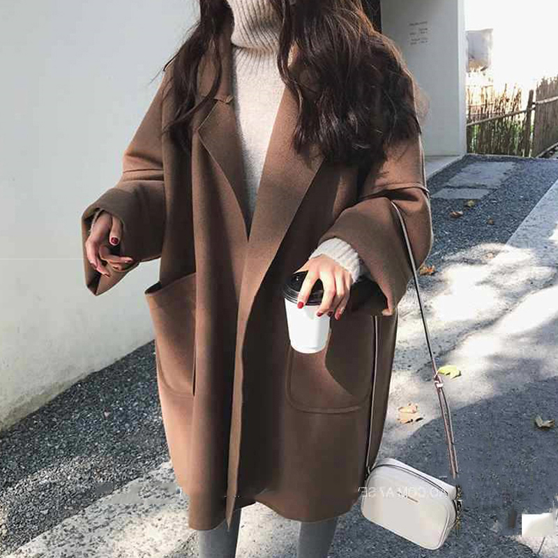 2020 Winter Autumn Long Coat For Women Thicken Turn Down Collar Open Stitch Loose Solid Casual Jacket Mujer