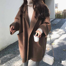 2020 Winter Herfst Lange Jas Voor Vrouwen Thicken Turn Down Kraag Open Stitch Losse Solid Casual Jas Mujer(China)