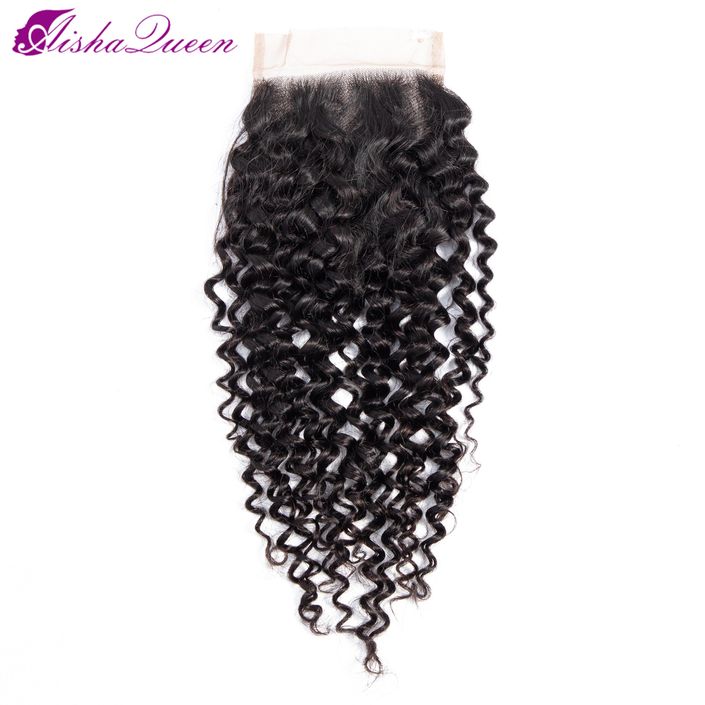 Aisha Queen Kinky Curly Closure Swiss Lace Closure Human Hair Closure Brazilian Closure Non-Remy Closures 4x4 Closure