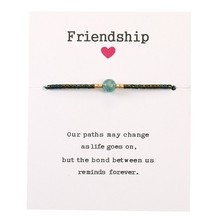 Bohemian String Bracelet Femme Natural Stone Beaded Braclet Adjustable Braided Thread Braslet Friendship Jewelry With Card(China)