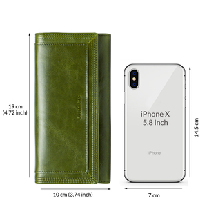 Image 5 - Contacts Fashion Women Wallets With Card Holder Genuine Leather Long Clutch Brand Design Female Coin Purses Cell Phone Pocket