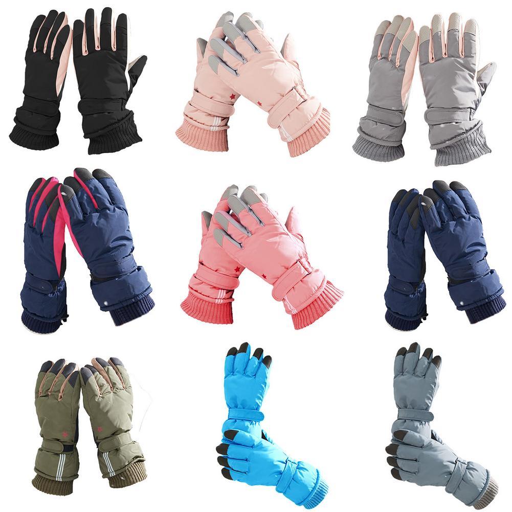 Модные лыжные перчатки, зимние ветрозащитные водонепроницаемые уличные спортивные перчатки для снега, сноуборда с регулируемым запястьем,...