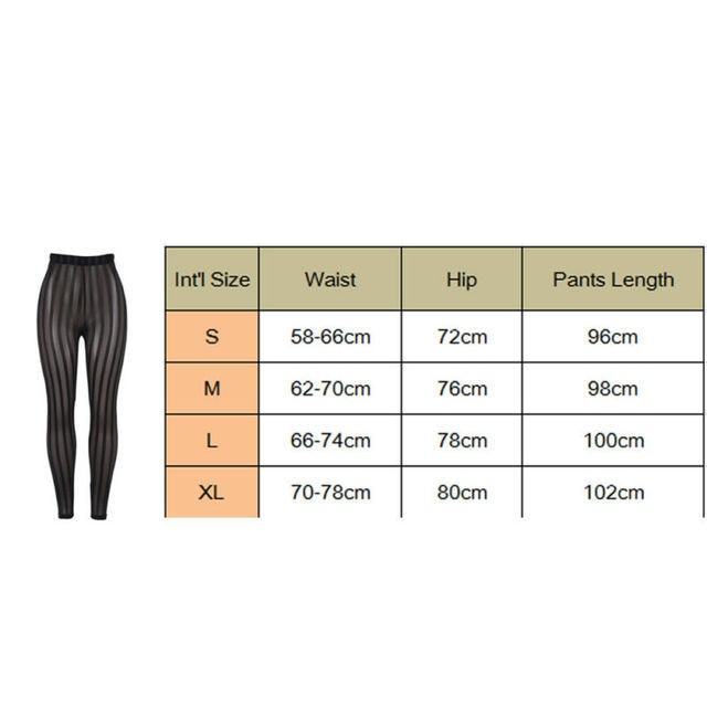 Hot Sexy Mesh Striped Leggings Women Striped Mesh Perspective Pants Knee Length Slim Trousers Club Wear 10