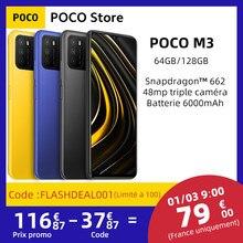 Teléfono Inteligente POCO M3, versión Global, procesador Snapdragon 662, Octa Core, 4GB RAM, 64GB/128GB rom, pantalla de 6,53 pulgadas, batería de 6000mAh