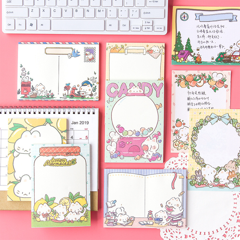 50pcs/bag Korean Version Of Cute Cat Large Note Pad Cartoon Can Tear Message Note Memo Notes Paper