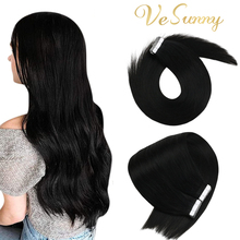Vesunny Skin Weft Tape in Hair Remy Hair Seamless Tape for Hair Extensions Color Black Silky Straight Real Human Hair Adhesive