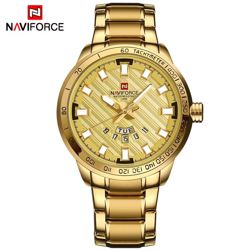NAVIFORCE Top Brand Luxury Quartz Men Golden Watches Fashion Calendar Business Waterproof Smart Wrist Watch Steel Band Relogio