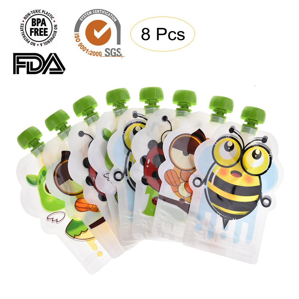 8pcs-148ml-baby-food-storage-pouch-portable-bpa-free-reusable-sealed-complementary-food-pouch-homemade-puree-pulp-storage-bag