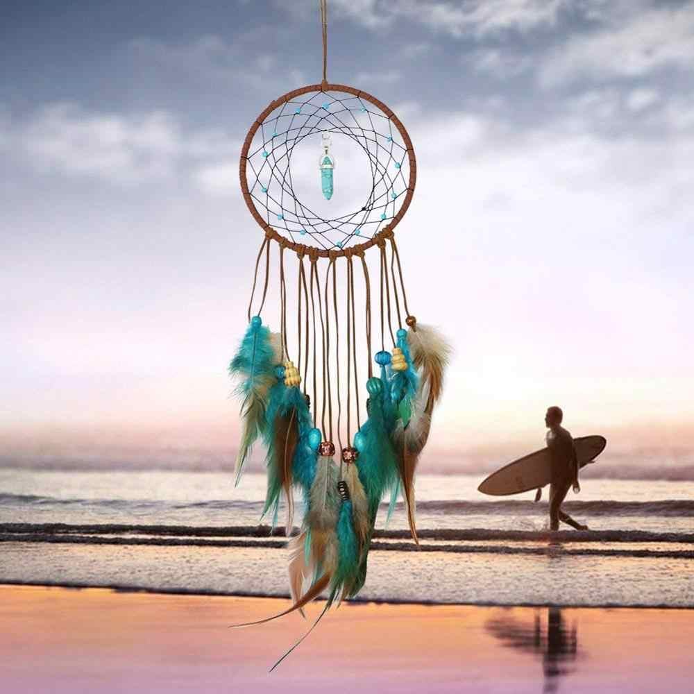 Handmade Dream Catcher Feathers Decoration For Car Wall Hanging Room Home Decor Hanging Dreamcatcher Wind Chimes Pendant lapacz