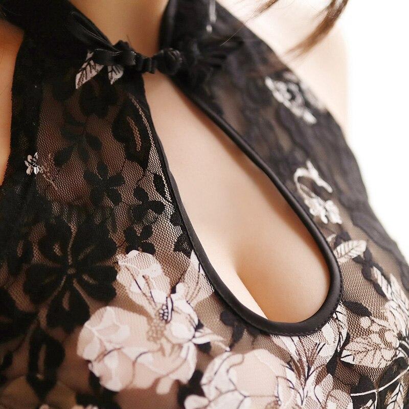 Women Lace Party Nightclub Dress Qipao Modern Vintage Sexy Cheongsam Lingerie Women Transparent Mesh Traditional Chinese Dress