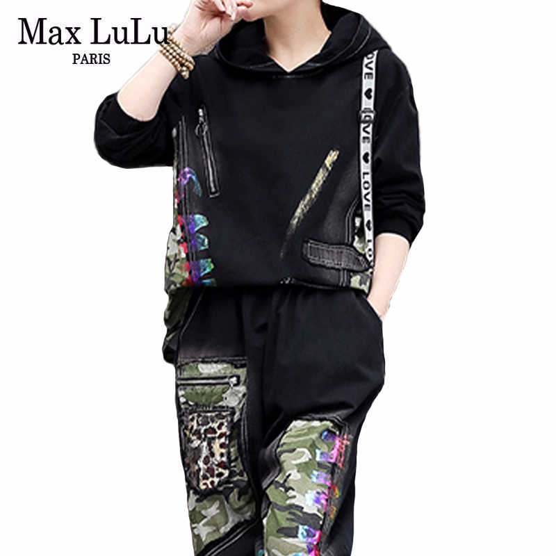 Max Lulu 2020 Lente Koreaanse Mode Dames Patchwork 2 Stuks Sets Casual Camouflage Pakken Losse Hooded Hoodies En Zweet Broek