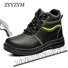 ZYYZYM Steel Toe Boots Men Safety Work Winter Plush Keep Warm Shoes Anti-piercing Protection Footwear