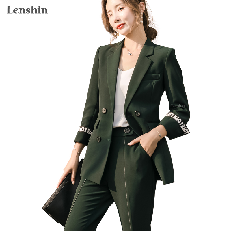 Lenshin Two Pieces Set Fashion Alphabet Pattern Pant Suit Double Breasted Two Pockets Contrast Sleeve Blazer With Flare Trouser