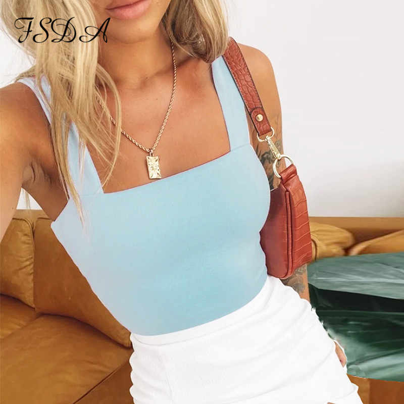 FSDA Square Neck Sleeveless Sommer Crop Top Weiß Frauen Schwarz Casual Grundlegende T-shirt Weg Cami Sexy Backless Tank top