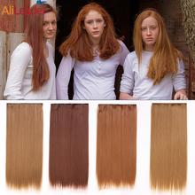 Alileader syntetyczne włosy doczepiane Clip In 5 klipów czarny biały blond naturalne odporność na ciepło prosto przedłużanie włosów dla kobiet tanie tanio Proste Wysokiej Temperatury Włókna 9 cali z 5 klipsami CN (pochodzenie) clip in hair extension Piano kolor 120g pack synthetic clips extension hair