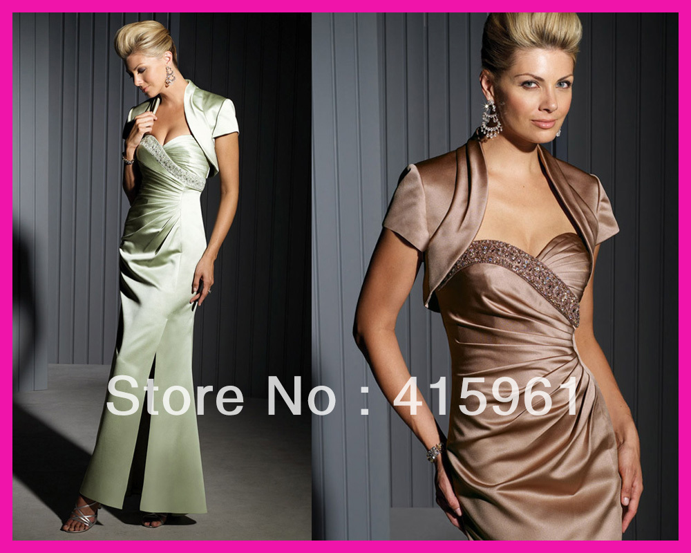 Vestido De Madrinha Brown Short Sleeve Jacket Satin Beadings 2018 Mother Of The Bride Dresses Gowns