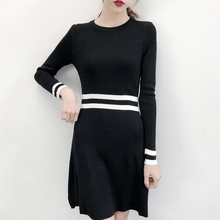 Knitting Women Dress Vintage Sexy Dresses Autumn Long Sleeve Korean Casual A-line Red Black Woman Cloth