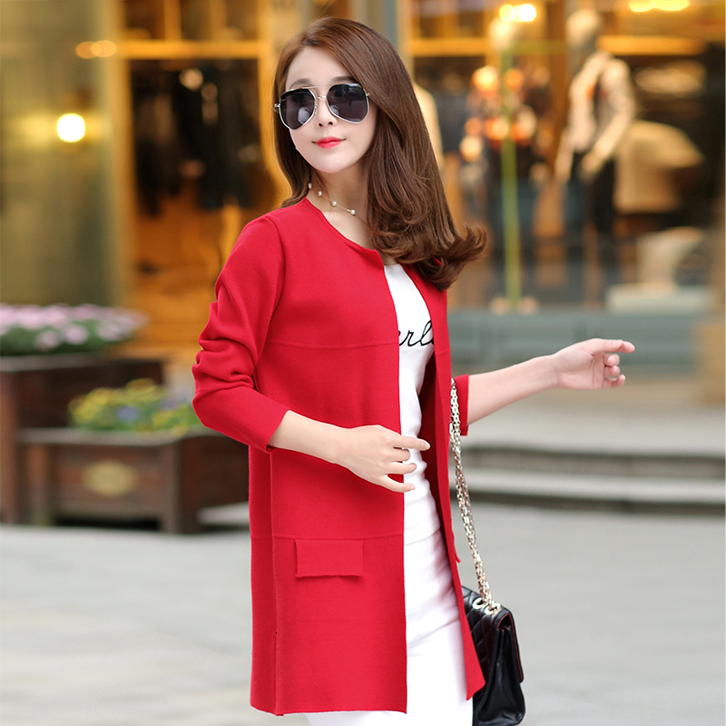 2020 Autumn Winter Fashion New Long Sleeve Sweaters Womens Red Gray Long Knitted Female Cardigan Women's Trench Size 2XL 3XL