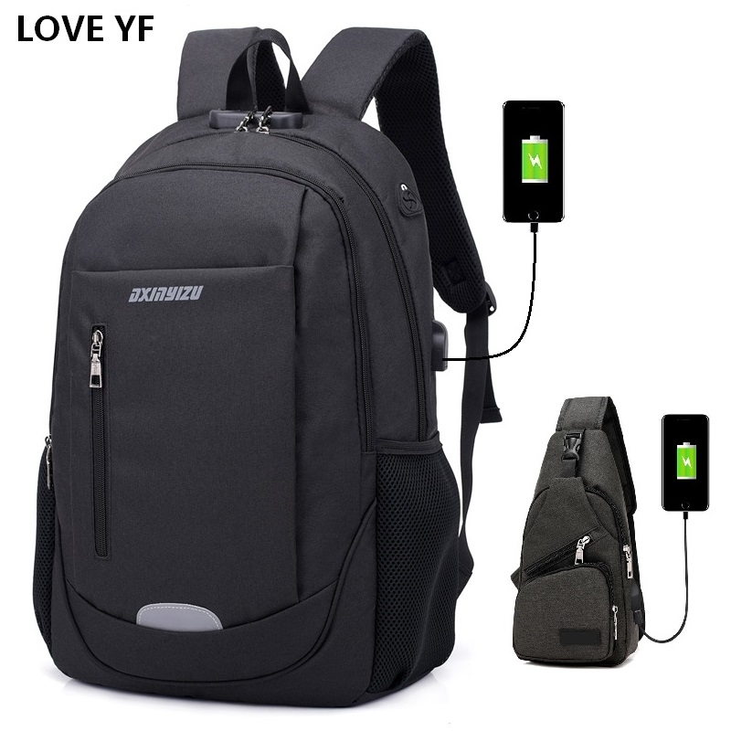 Men's 15.6inch password lock Anti-theft laptop backpacks teenage College school bags Men and women business travel backpack image