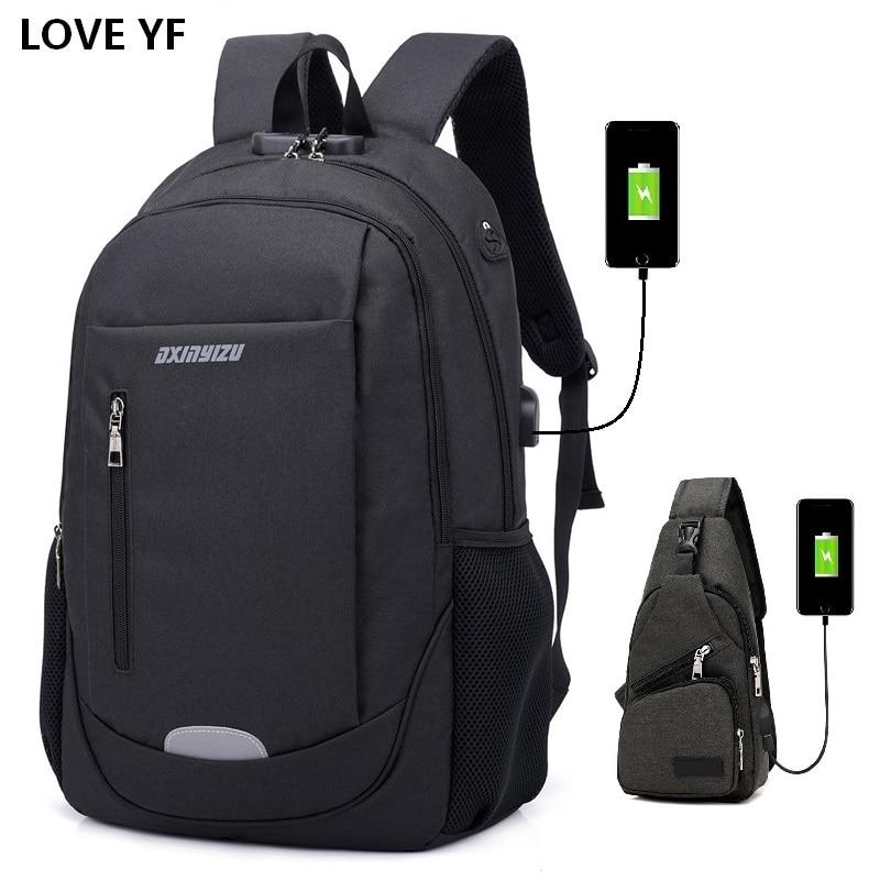 Men's 15.6inch Password Lock Anti-theft Laptop Backpacks Teenage College School Bags Men And Women Business  Travel Backpack