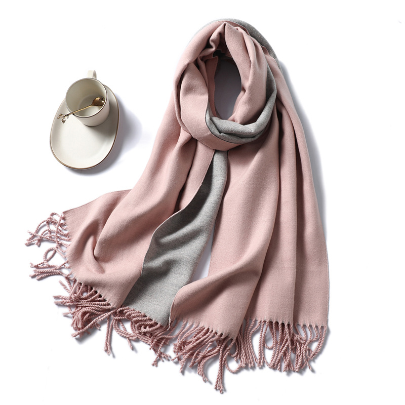 2019 Winter Cashmere Scarf For Women Pashmina Shawls And Wraps Solid Print With Tassel Scarfs Warm Snood Neck Scarves For Ladies
