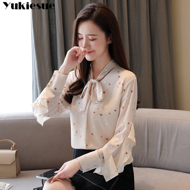fashion woman blouses summer long sleeve bow collar women's shirt blouse  women blusas womens tops and blouses chiffon shirts 2