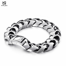 KALEN High Polished Arrow Shaped Bracelet Men's 22cm Stainless Steel Linking Bike Chain Bracelets Fashion Male Jewelry Accessory high polished 6 number spring chain bracelet